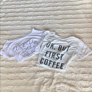 2 White graphic shirts